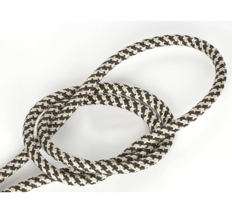 Fabric Cord Black & Sand - round, linen - crossed pattern