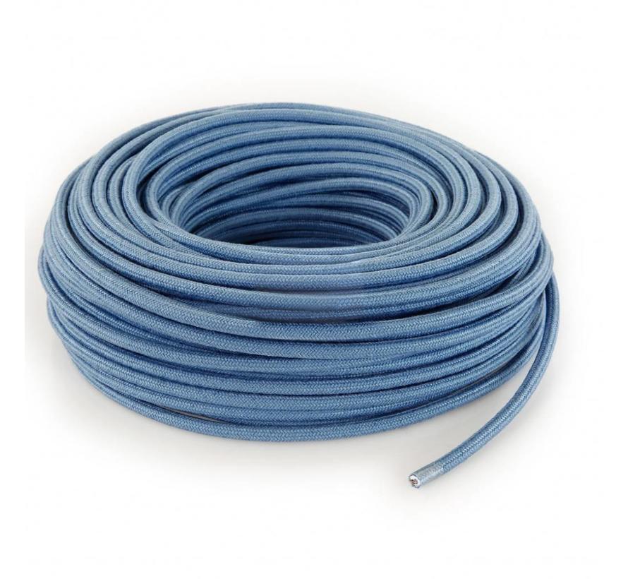 Textilkabel Grau-Blau - rund, leinen