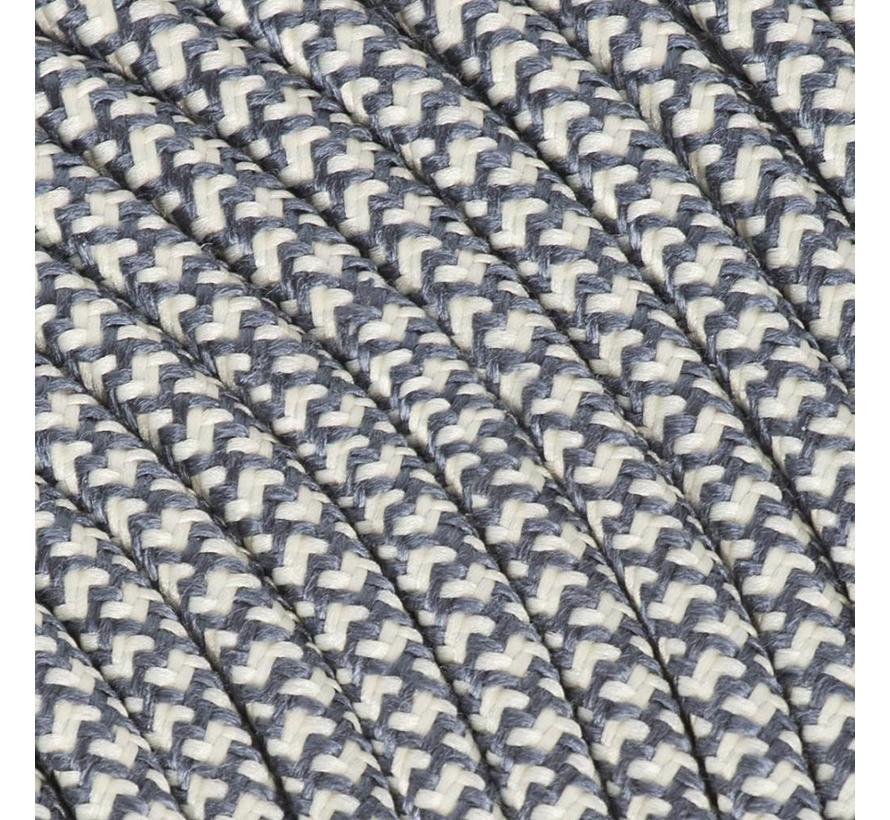 Textilkabel Creme & Grau - rund, leinen | Kreuz Muster