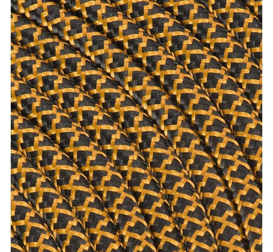 Strijkijzersnoer Zwart & Whiskey - rond - kruis patroon