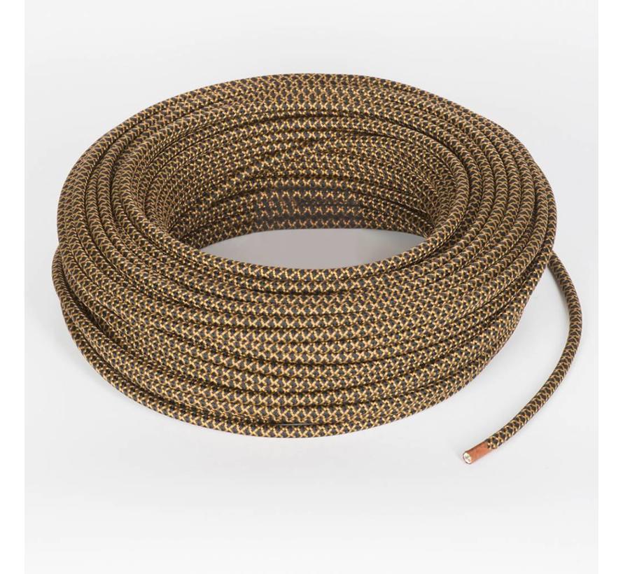 Textilkabel Schwarz und Kupfer - rund | Kreuz Muster