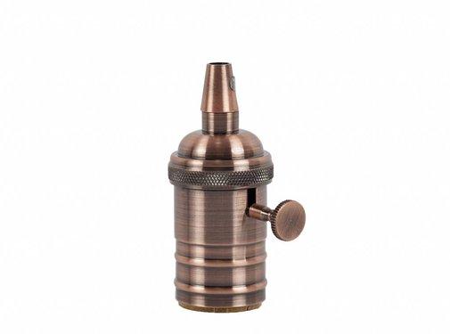 Kynda Light Metal Lamp Holder 'Frey' with Switch copper