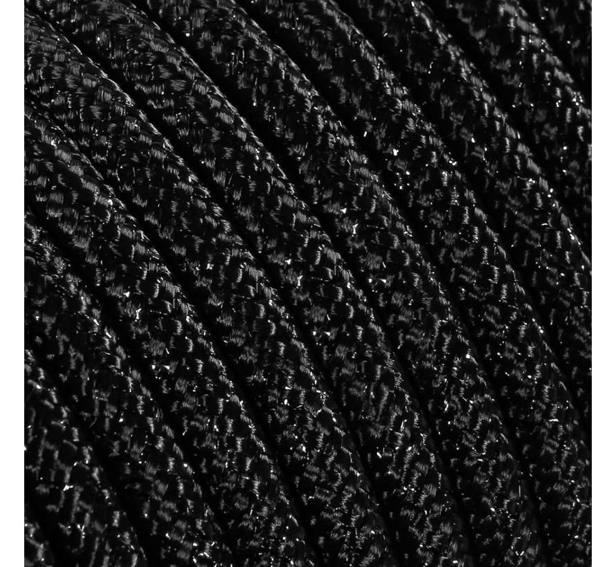Funkeln Textilkabel Schwarz (Glitzer Effekt) - rund, einfarbiger Stoff