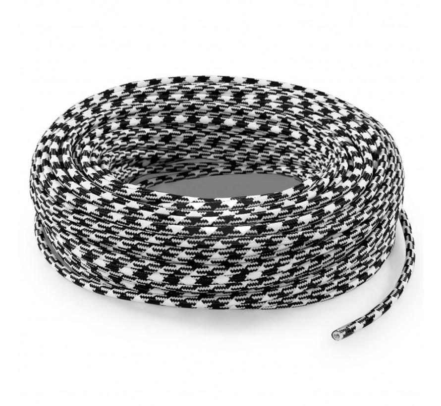 Fabric Cord Black & White - round, block pattern