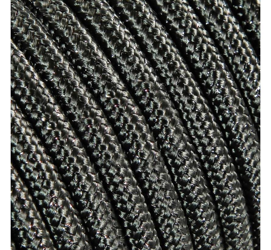 Funkeln Textilkabel Grau (Glitzer Effekt) - rund, einfarbiger Stoff