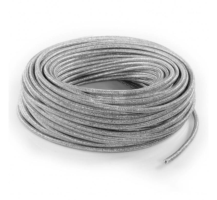 Funkeln Textilkabel Silber (Glitzer Effekt) - rund, einfarbiger Stoff