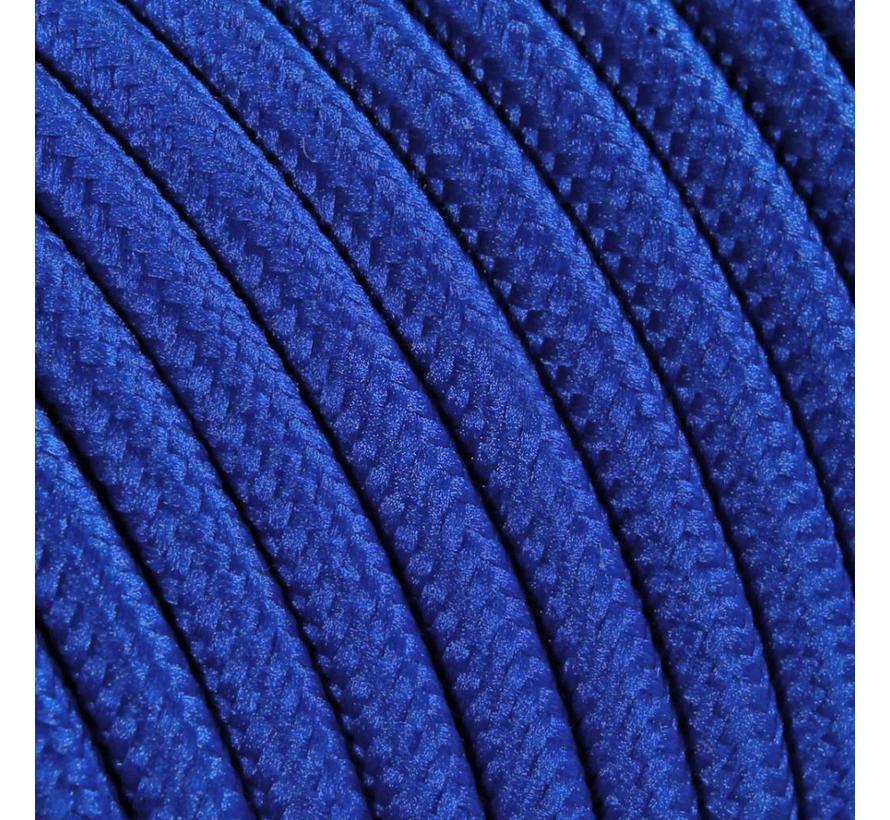 Strijkijzersnoer Blauw - rond, effen stof