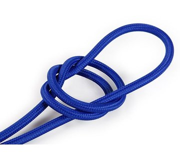 Kynda Light Textilkabel Blau - rund, einfarbiger Stoff