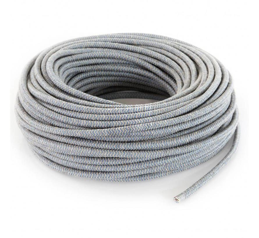 Fabric Cord Sand & Blue - round linen- zigzag pattern