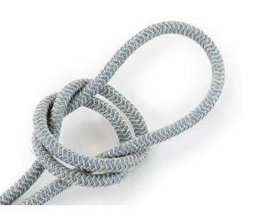Kynda Light Strijkijzersnoer Zand & Blauw - rond linnen - zigzag patroon