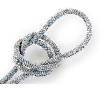Kynda Light Textilkabel Sand und Blau - rund, leinen | Zick-Zack Muster