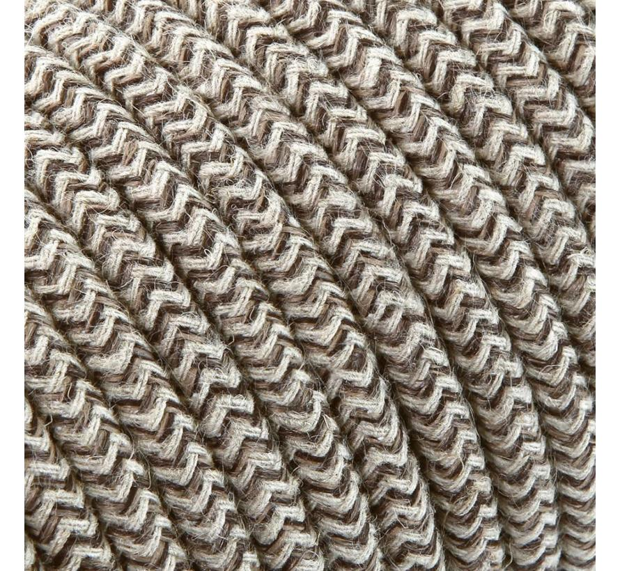 Fabric Cord Sand & Brown - round linen - zigzag pattern