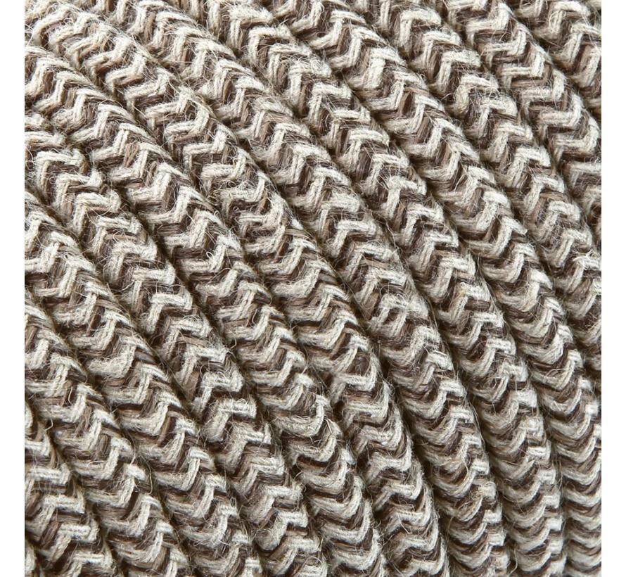 Textilkabel Sand und Braun - rund, leinen | Zick-Zack Muster