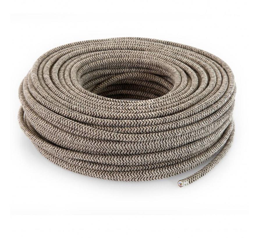 Fabric Cord Sand & Brown - round linen - zigzag pattern