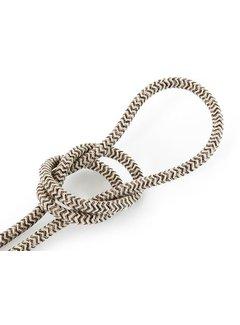 Kynda Light Fabric Cord Sand & Brown - round linen - zigzag pattern