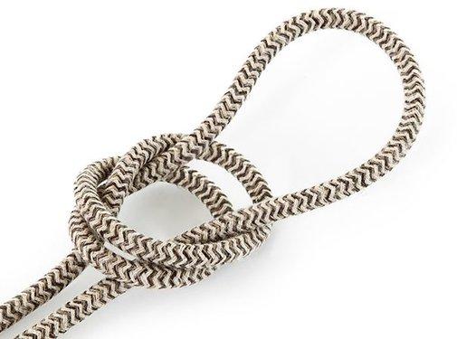 Kynda Light Fabric Cord Sand & Brown - round, linen