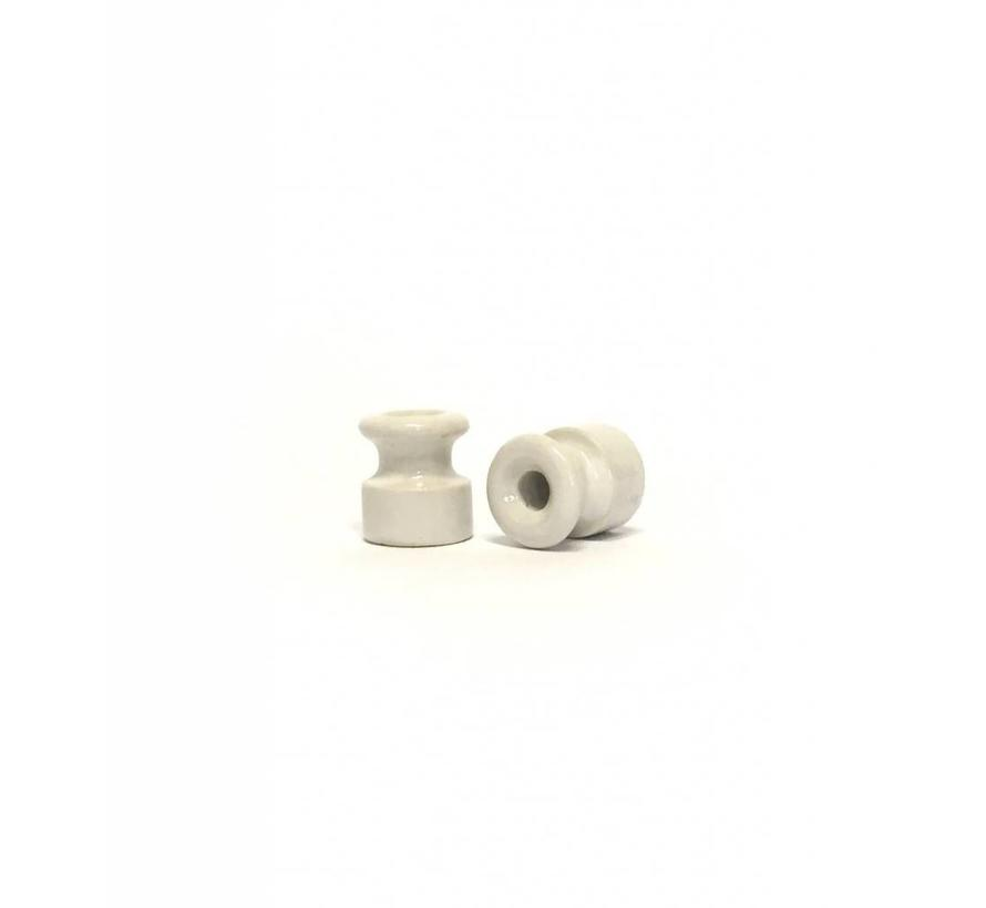 Porcelain insulator - White - Ø 18 mm for wall wiring with twisted cord