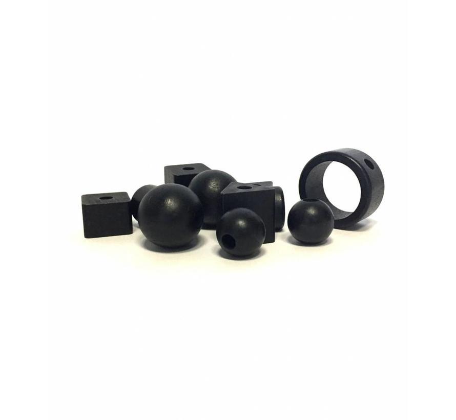 Kraal hout zwart | Rond, groot Ø35mm