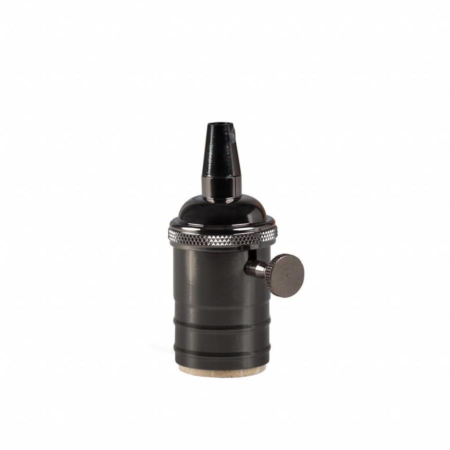 Metal Lamp Holder 'Frey' with Switch dark grey E27