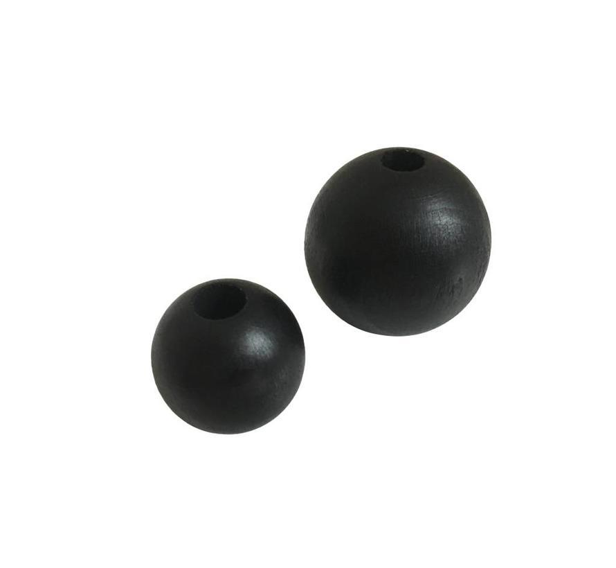 Holzperlen Schwarz | Rund, groß Ø35mm