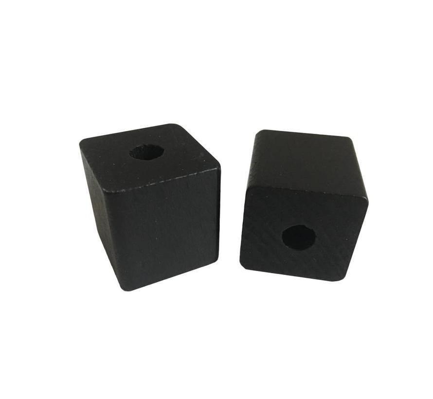 Holzperlen schwarz | Rechteck,  groß