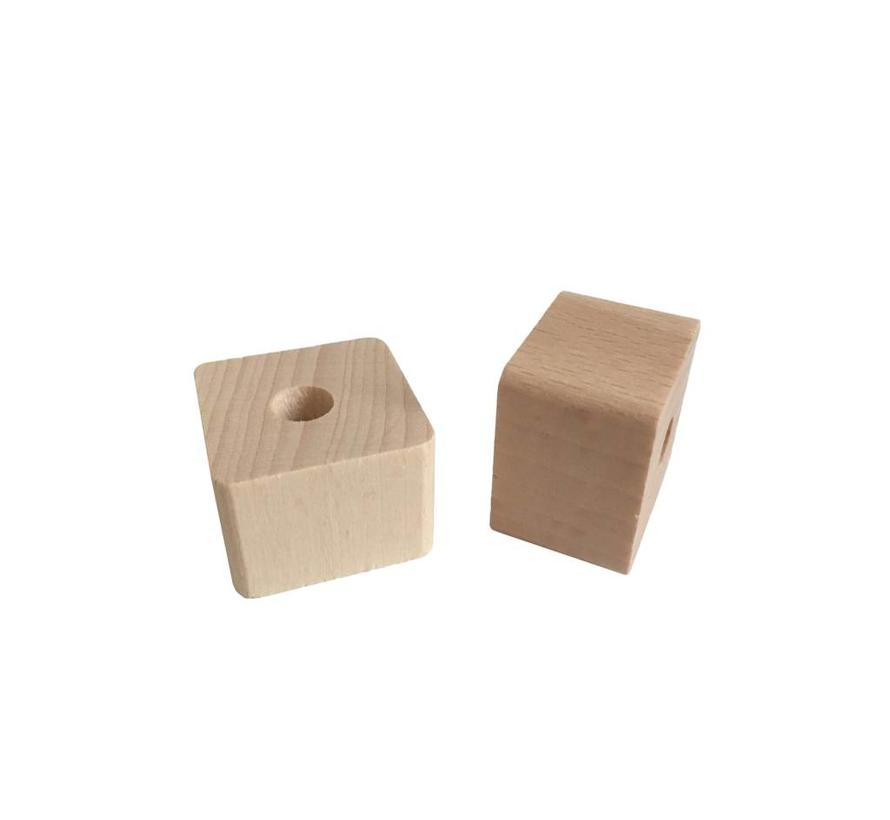 Pearl / Bead wood natural | Rectangle, small