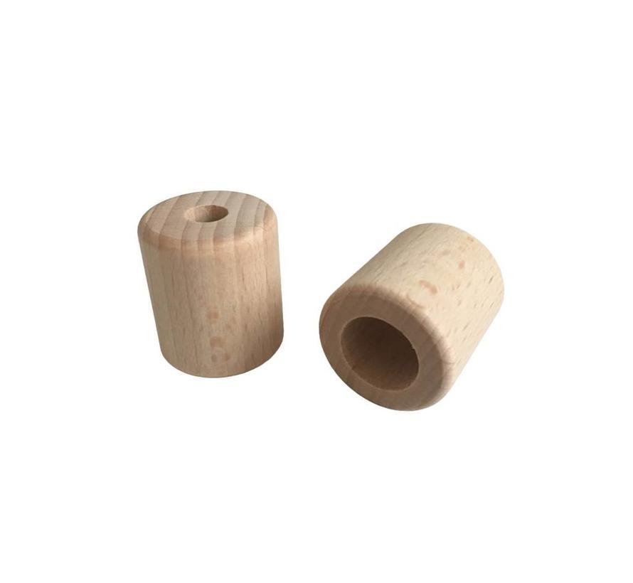Holzperlen Natur | Zylinder, groß