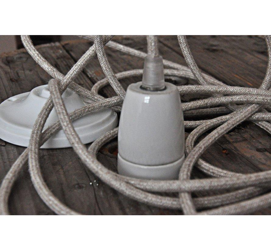 Fabric Cord Beige - round, linen