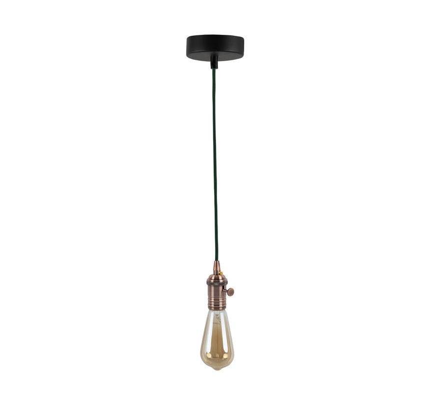 Metal Lamp Holder 'Frey' with Switch copper E27