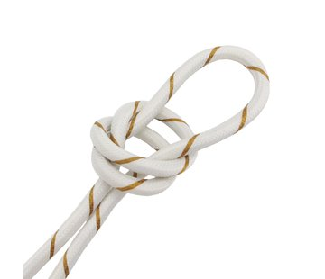 Kynda Light Fabric Cord White & Gold Striped - round, solid