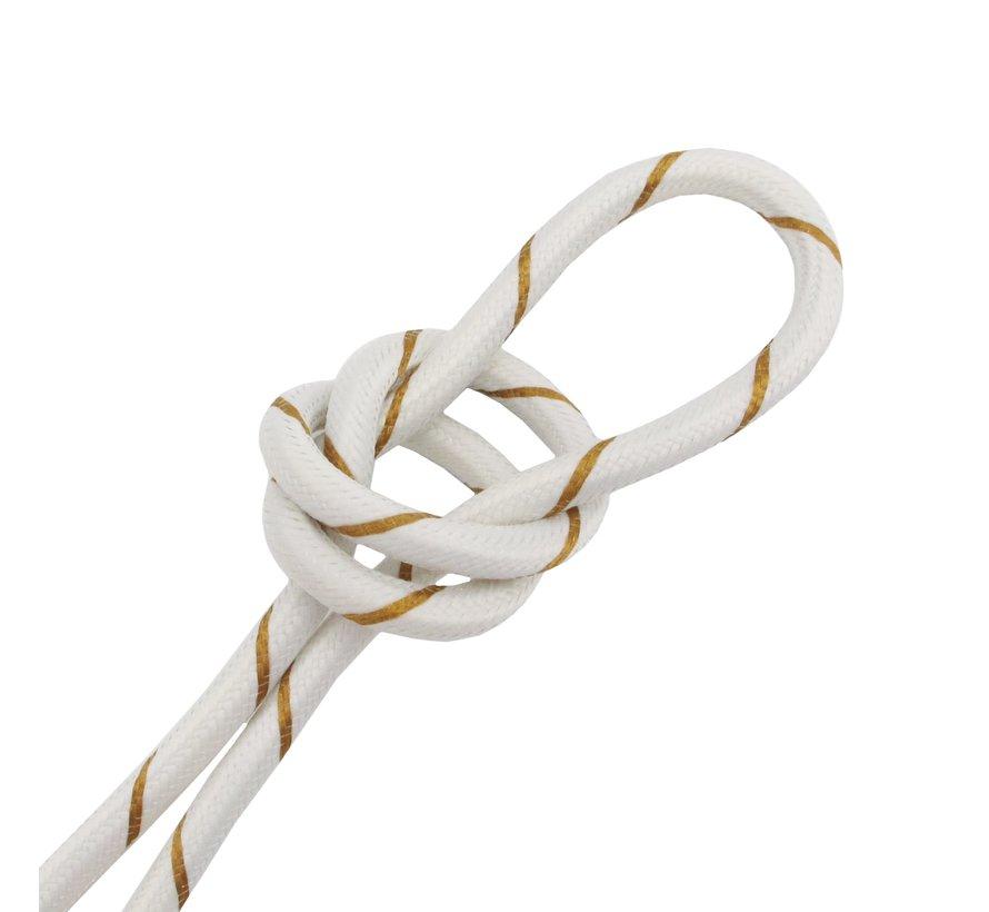 Strijkijzersnoer Wit & Goud - rond - gestreept patroon