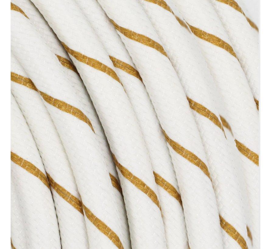 Textilkabel Weiß & Gold - rund | Streifenmuster