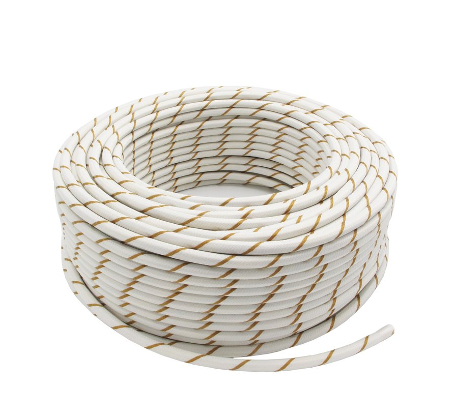 Fabric Cord White & Gold Striped - round, solid