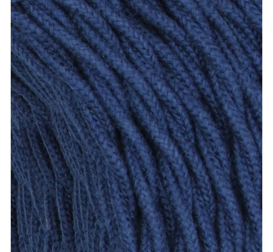 Fabric Cord Dark Blue Jeans - twisted, linen