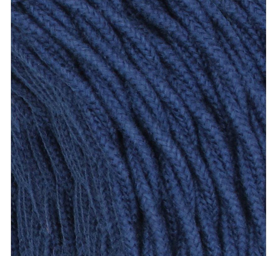 Textilkabel Dunkelblau 'Jeans' - verdrillt/geflochten, Leinenstoff