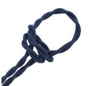 Kynda Light Textilkabel Dunkelblau 'Jeans' - verdrillt/geflochten, Leinenstoff
