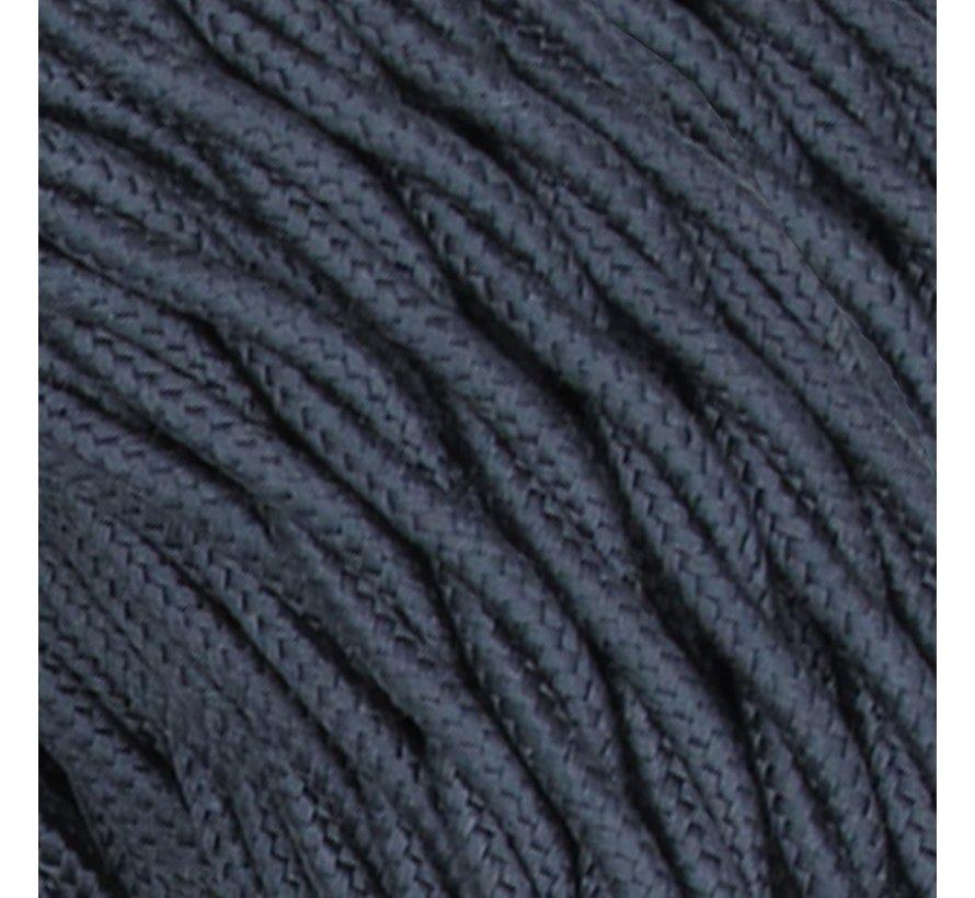 Textilkabel Dunkelgrau / Graphit - verdrillt/geflochten, Leinenstoff