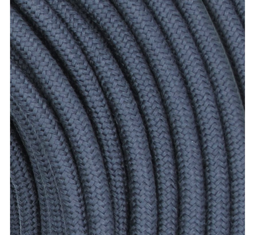 Fabric Cord Dark Grey Graphite - round, linen