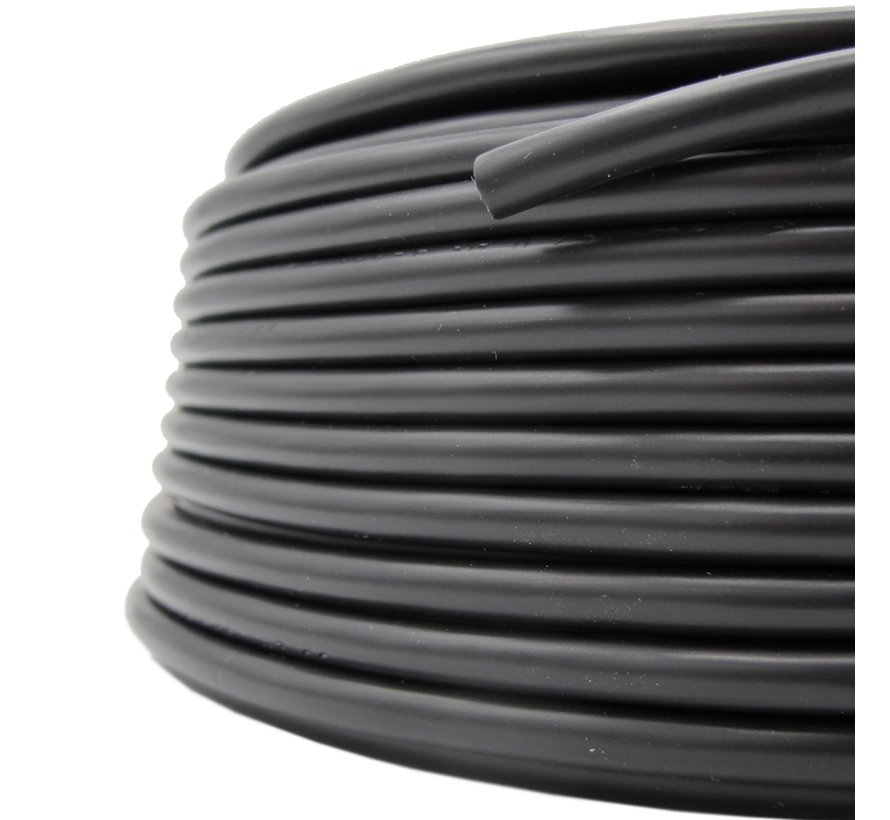 Fabric Cord PVC Black - round, solid