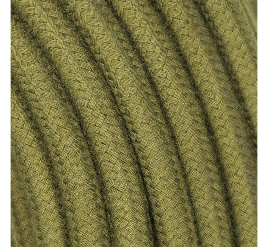 Strijkijzersnoer Olijf Groen - rond, linnen