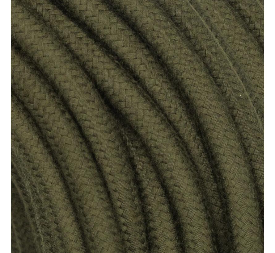 Textilkabel Moosgrün - rund, leinen