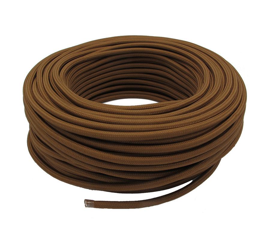 Textilkabel Kakaobraun - rund, einfarbiger Stoff