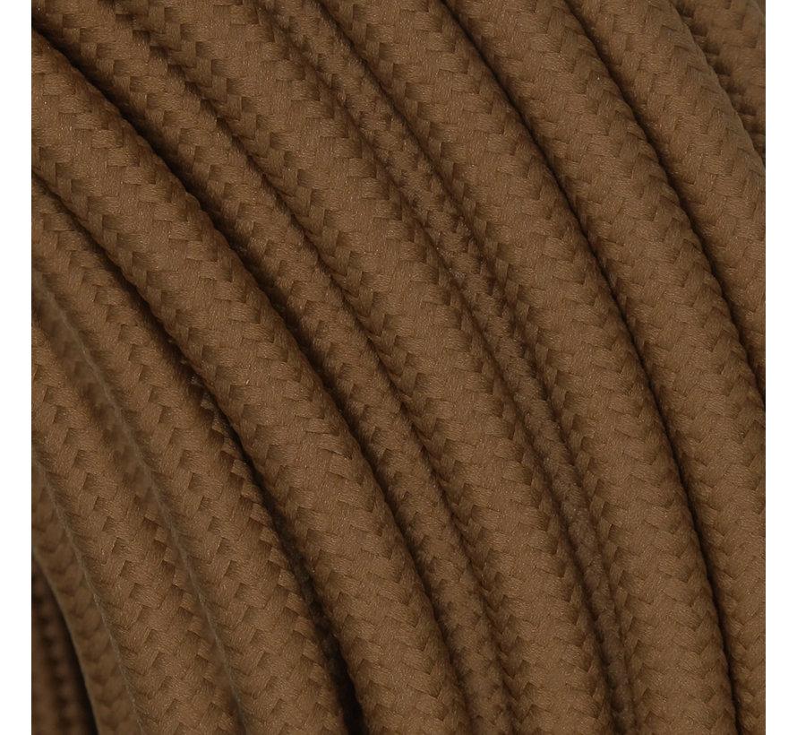Strijkijzersnoer Cacao Bruin - rond, effen stof