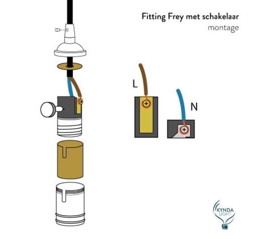 Fitting 'Frey' met schakelaar metaal Koper E27