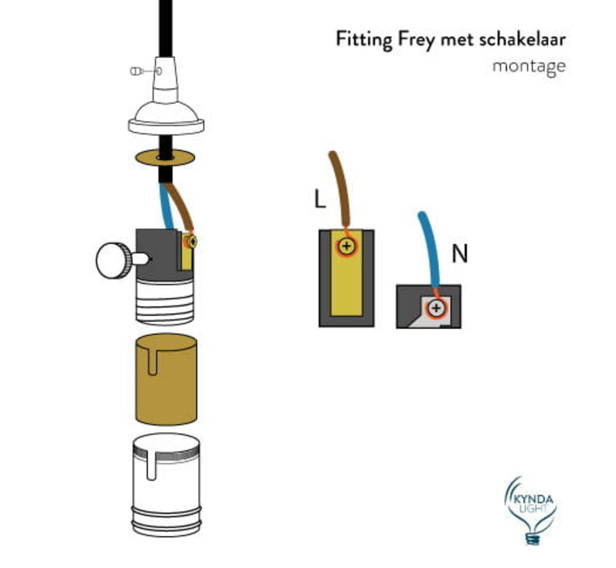 Fassung 'Frey' mit Schalter Metall Dunkelgrau - E27