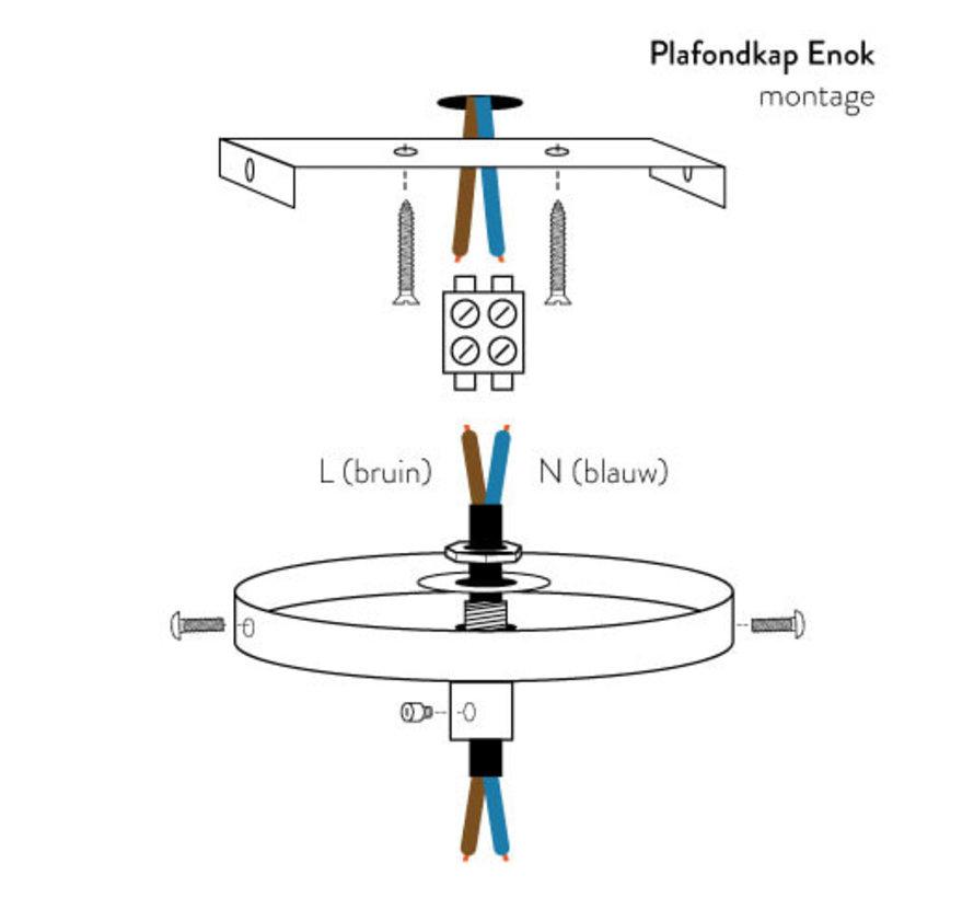 Plafondkap 'Enok' metaal Wit