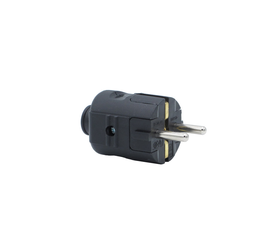 Plug plastic - round black (grounded)