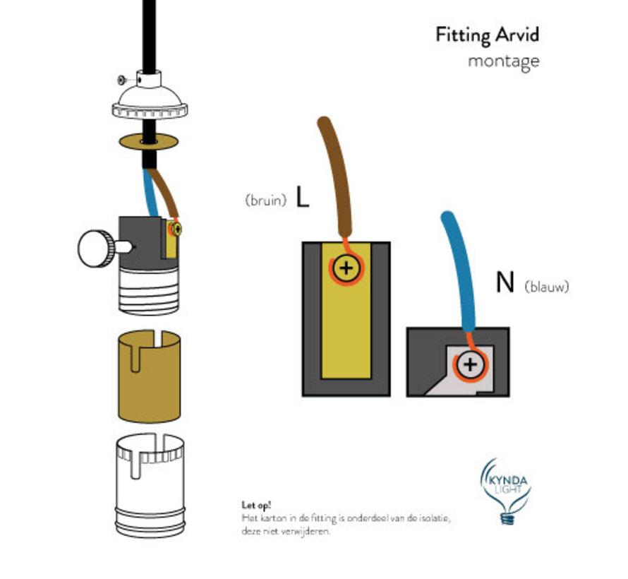 Fitting 'Arvid' met schakelaar metaal Donkergrijs E27