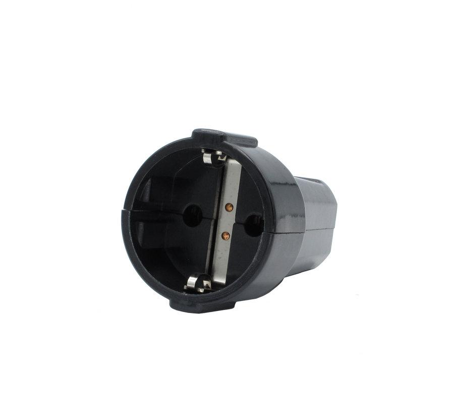 Kupplung Schwarz rund | 3-polig, Bakelit-Look, geerdet