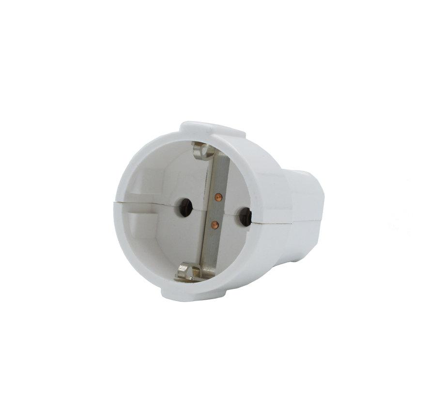 Kupplung Weiß rund | 3-polig, Bakelit-Look, geerdet
